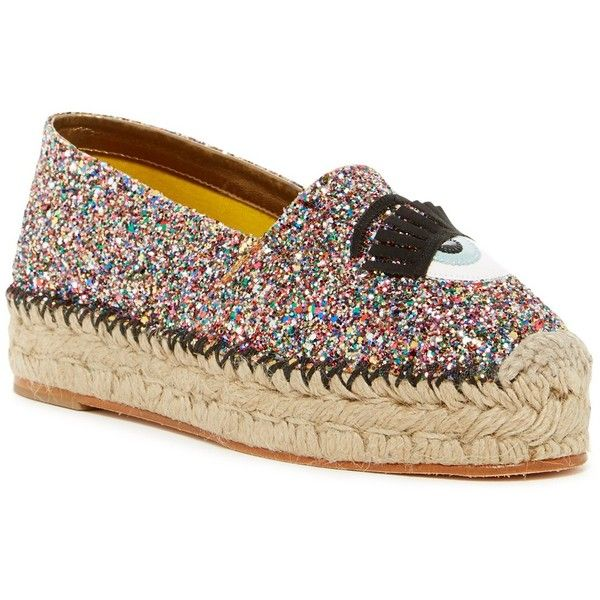 Chiara Ferragni Glitter Platform Espadrille ($190) ❤ liked on Polyvore featuring shoes, sandals, multi, woven sandals, slip on sandals, glitter slip on shoes, glitter espadrilles and chiara ferragni shoes