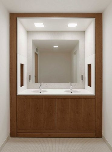 Well designed and beautifully balanced  bathroom inside the Hambach Castle by Max Dudler.