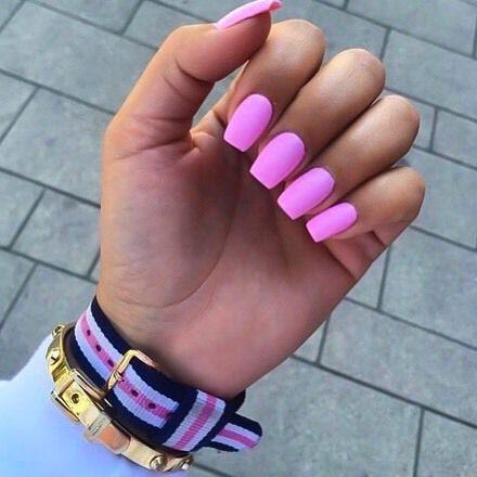 Hot pink square nails