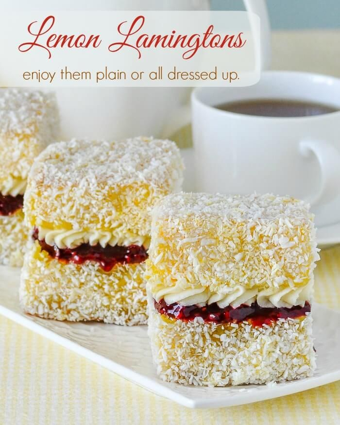 Lemon Lamingtons. Moist vanilla cake cubes dipped in lemon and coconut. Enjoy them plain or dress them up with raspberry compote and vanilla cream.