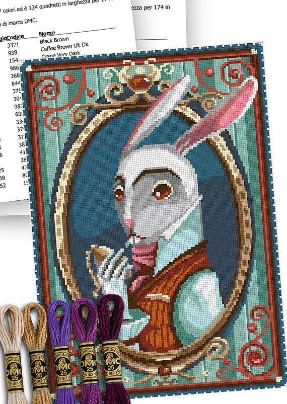 COUNTED STITCH pattern - The White Rabbit - Alice in wonderland - Lewis Carroll -PDF Instant download