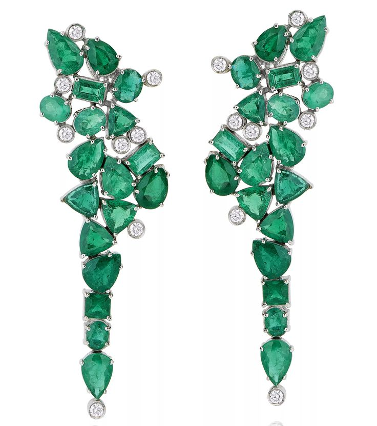 Earrings with emeralds and diamonds, price on request; Leticia Linton