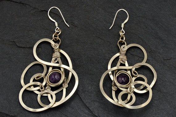 Purple Dangle Earrings Wire Wrap Earrings Amethyst от HyppieChic