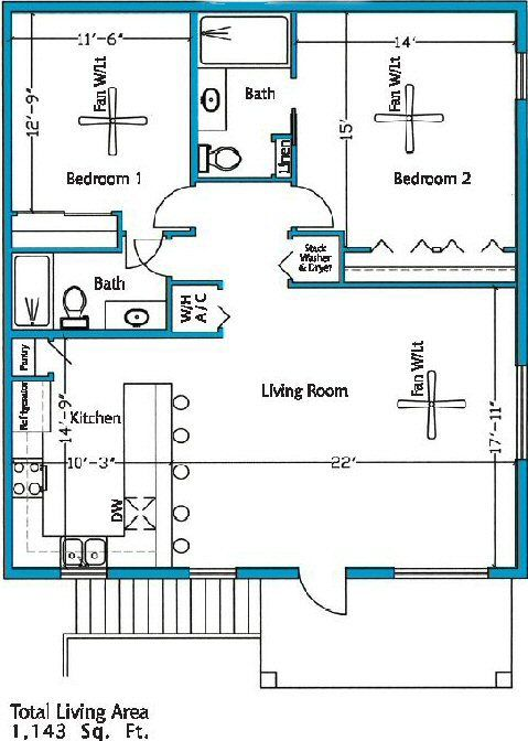 simple 2 bedroom house plans - Google Search