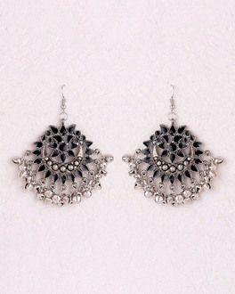 b0ea375b88b Earrings  Black Enamel Chandbali Earrings