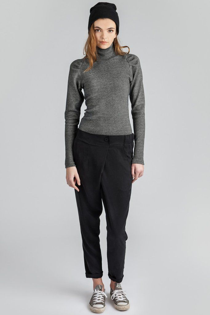 Turtleneck rib top. Super long sleeves. Thick cotton spandex rib.  Tencel fold over pants. Elastic waist pant. Slow fashion, eco focused. #turtleneck #ribtop #longsleeved #cotton #tencelpant #slowfashion #ecofashion #womensfashion #style #allisonwonderland #pillar #blackpants #shirt #spring #summer #foldoverpant #cropped #streetstyle #details