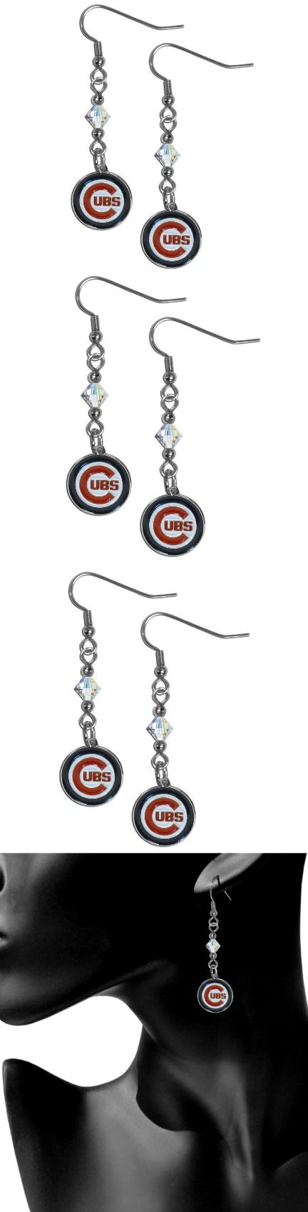 Chicago Cubs Crystal Dangle Earrings! Click The Image To Buy It Now or Tag Someone You Want To Buy This For. #ChicagoCubs