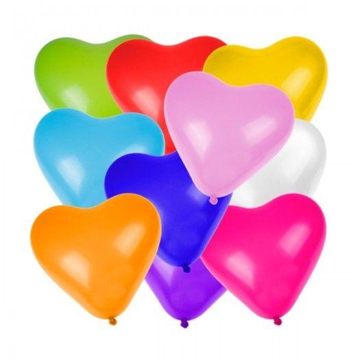 Kalp Şekilli Renkli Balon 100 Adet