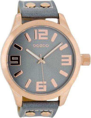 Oozoo Damenuhr mit Lederband 46 MM Graublau/Rosegold C1154