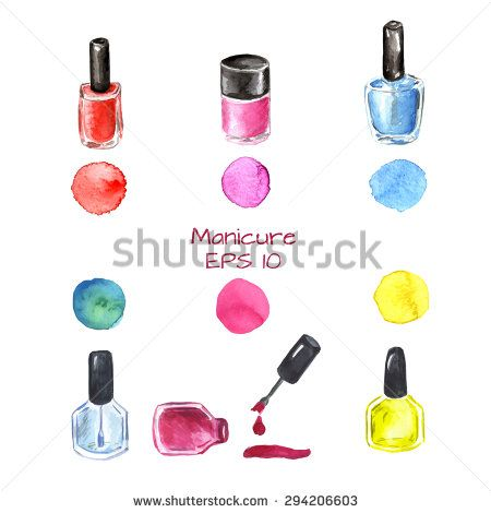 Watercolor manicure set with 6 nail polish and colored splashes: red nail polish, pink, blue, yellow and green. Manicure nail collection. Vector illustration. Collection for beauty manicure salon.