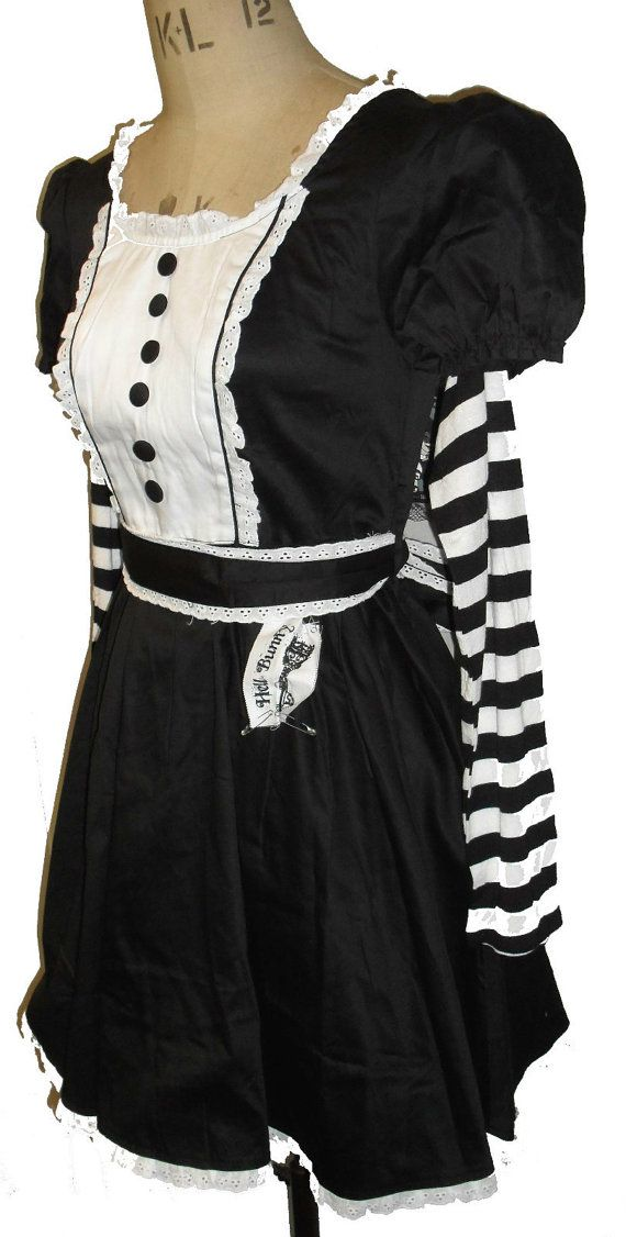 Creepy Gothic Steampunk Victorian Cosplay Alice in Wonderland Lolita Dress Beetlejuice Dress