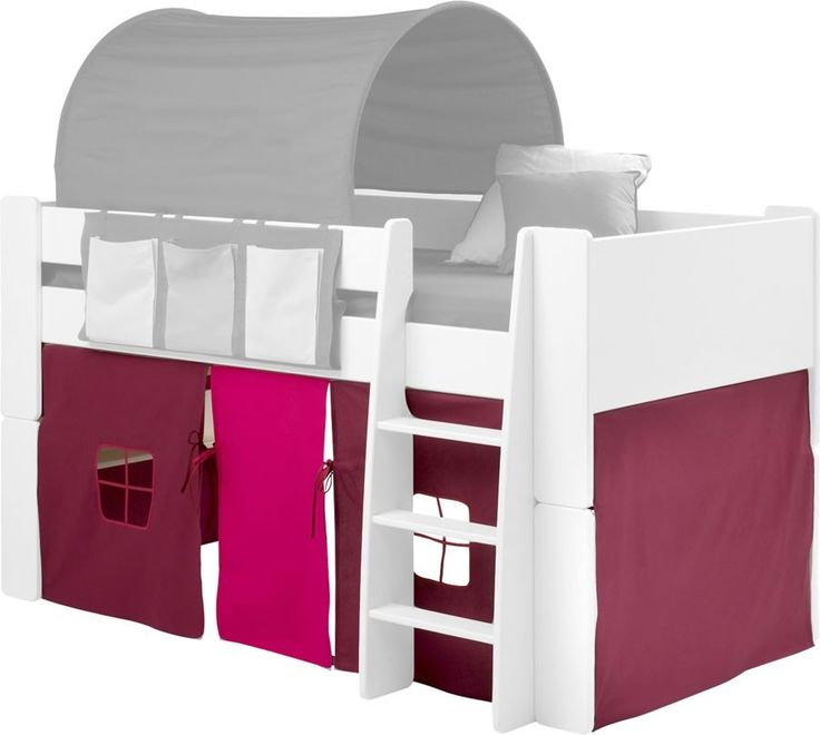 Steens For Kids Mid Sleeper Tent in Purple and Pink - The Steens For Kids purple and pink mid sleeper under bed play tent makes a great addition to any of the Steens For Kids mid sleeper beds, with or without a slide. The Steens For Kids pink and purple play tent features two front windows and a centre positioned pink door for easy access.