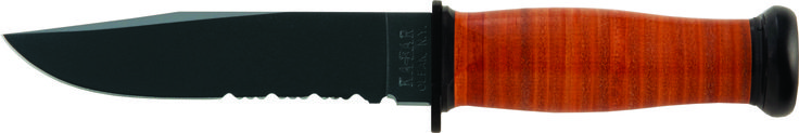 """KA-BAR 2226 USN Original military issue designed MARK 1 offers a compressed leather disc handle for rugged grip and control. The knife has an epoxy powder coated, high carbon (1095) steel blade with a [HRC 56-58] hardness rating. The 5 1/8"""" combo edge blade has been flat ground sharpened to 20 / 20 degrees with buff polished edges for better edge retention.  The overall length of this knife is 9 3/16"""", the perfect size for this easy carry fighting utility knife. www.tomarskabars.com"""