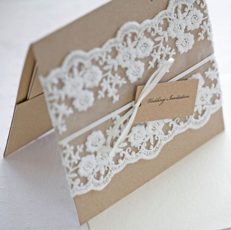 Lace wedding invitations - Rustic wedding invitations -