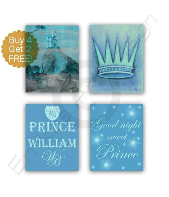 Little Prince Nursery Castle wall art Royal Crown Custom