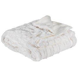 Koc MYGGBLOM 130x170 szt.futro białe
