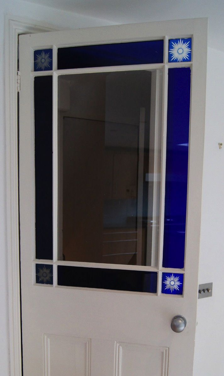 Victorian internal single door with blue stained glass