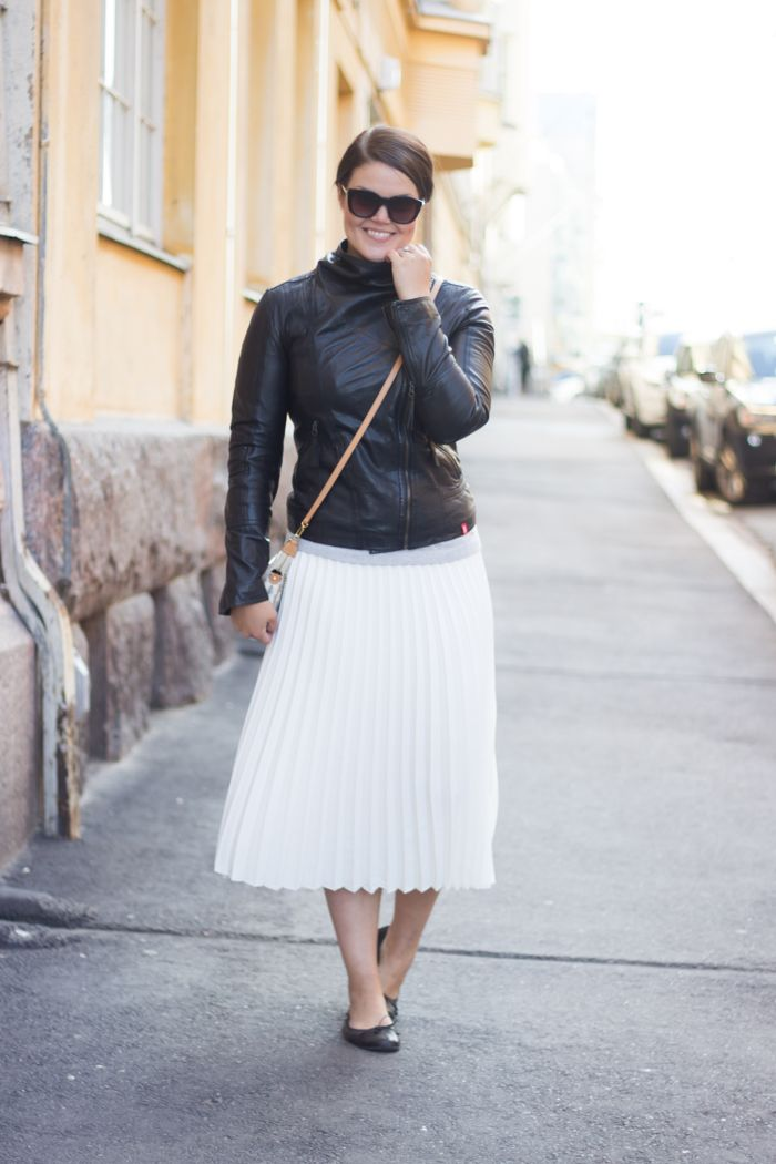 White pleated skirt, leather jacket