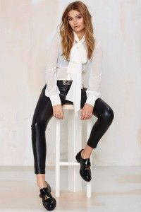 White blouse by Nasty Gal, leather pants, black flat shoes. Learn what to wear this fall, 2015 >>> http://justbestylish.com/what-to-wear-this-fall/