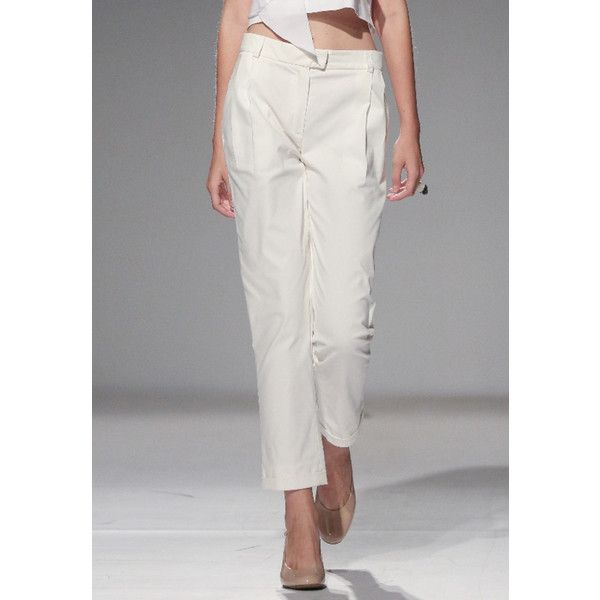 Ksenia Schnaider Straight Leg Work Trousers (€245) ❤ liked on Polyvore featuring pants, capris, white, white trousers, white cropped trousers, fitted pants, cropped trousers and white pants