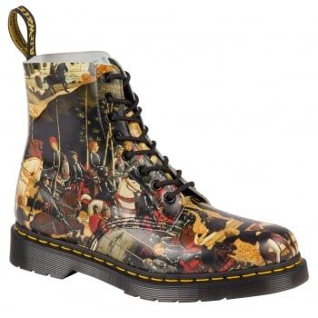 The Triumph of Camillus by 15th century Italian Renaissance painter, Di Antonio captures a post-battle parade with the hero who freed Rome. The classic 8-Eye Dr. Martens boot gets the D'Antonio treatment on top of Dr Martens signature air-cushioned sole, welted for comfort and durability. A great addition to our Reinvented range, which plays with history to create something new. http://www.marshallshoes.co.uk/womens-c2/dr-martens-ladies-pascal-di-antonio-boots-21090102-limited-edition-p3612
