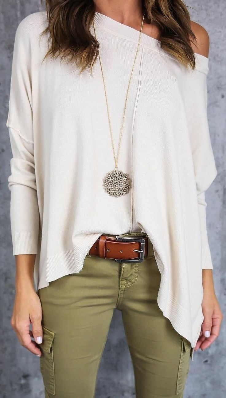 #winter #fashion /  White Off Shoulder Top + Kaki Skinny Pants