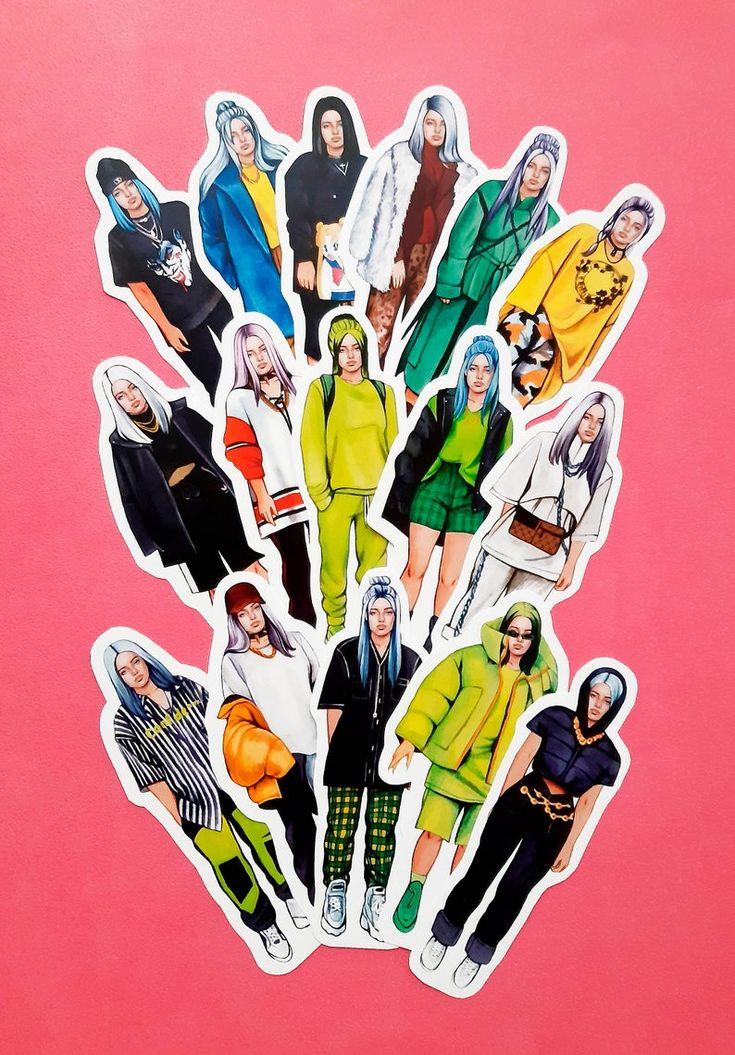Billie eilish 16 stickers billie eilish sticker pack