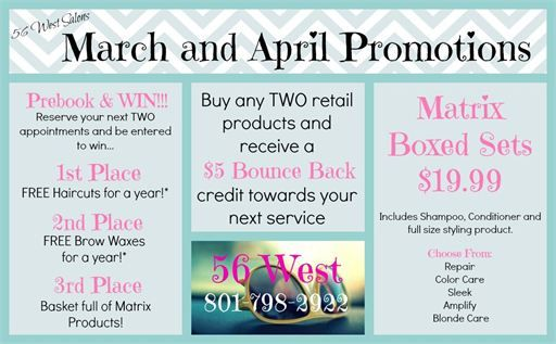 56 west salon day spa and boutique 39 s march and april