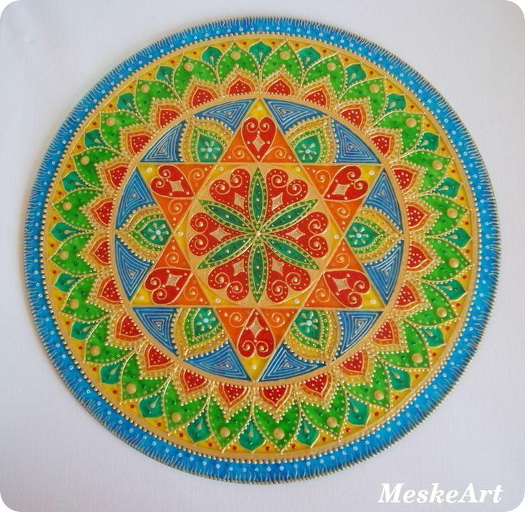 Egészség, harmónia, szerelem mandala 40 cm-es üveglapra /Health, harmony and love mandala, painted on a 40 cm round glass #mandala #harmónia #harmony #egészség #healthy # szerelem #love