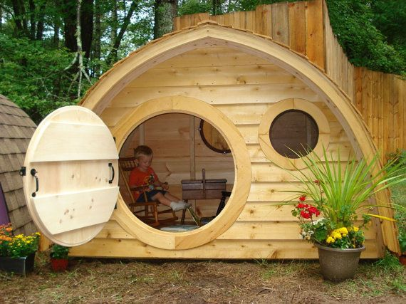 hobbit hole playhouse kit with cedar clapboard roofing outdoor wooden kids playhouse with round. Black Bedroom Furniture Sets. Home Design Ideas
