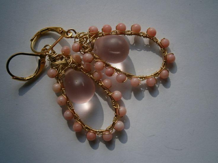 Ohrringe,Koralle,Seaglass,rosa,wirework von kunstpause auf DaWanda.com