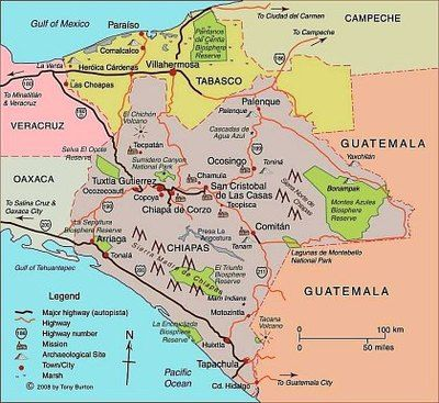 Link to clickable interactive map of Chiapas, Mexico: San Cristóbal de las Casas, Tuxtla Gutierrez, Palenque : Mexico Travel
