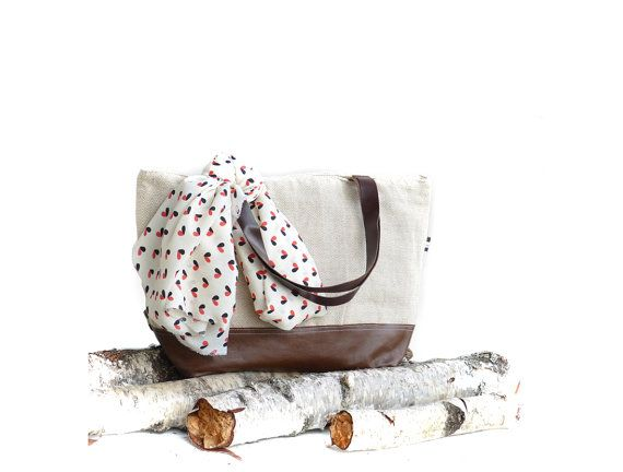 Cotton linen leather large diaper bag  eco friendly by dawnaparis, €55.00