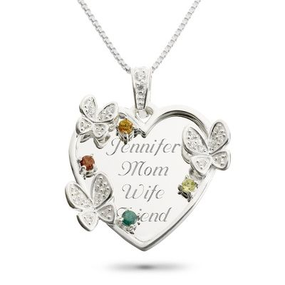 Personalized Sterling 4 Stone Butterfly Family Necklace With Free Keepsake Box, Things Remembered