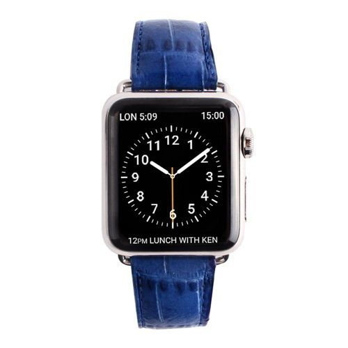 Gaze Natural Leather Apple Watch Band Color Croco Cobalt Blue Fashion Watch 38mm #Gaze