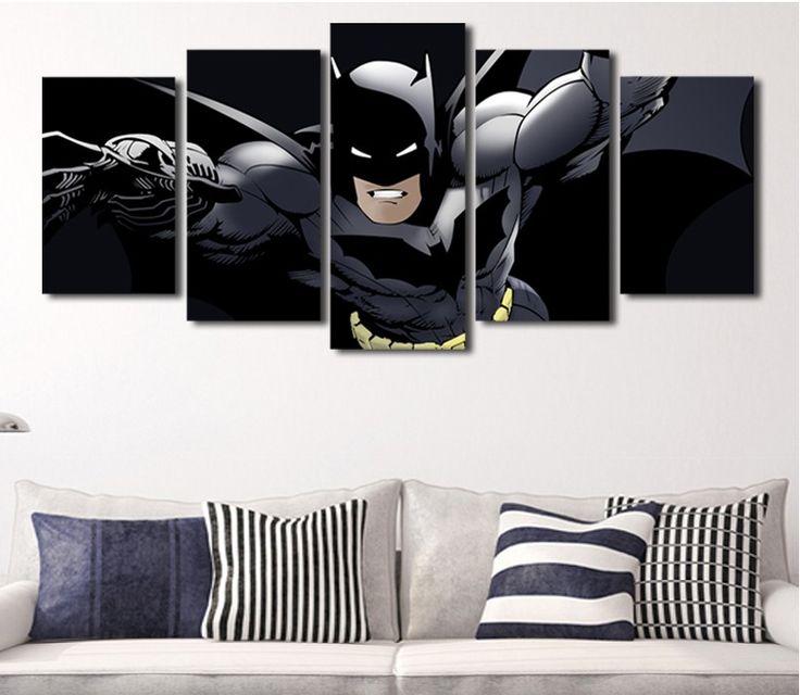 Batman wall art canvas painting unframed size1 30x40cmx2 for Batman bedroom paint ideas