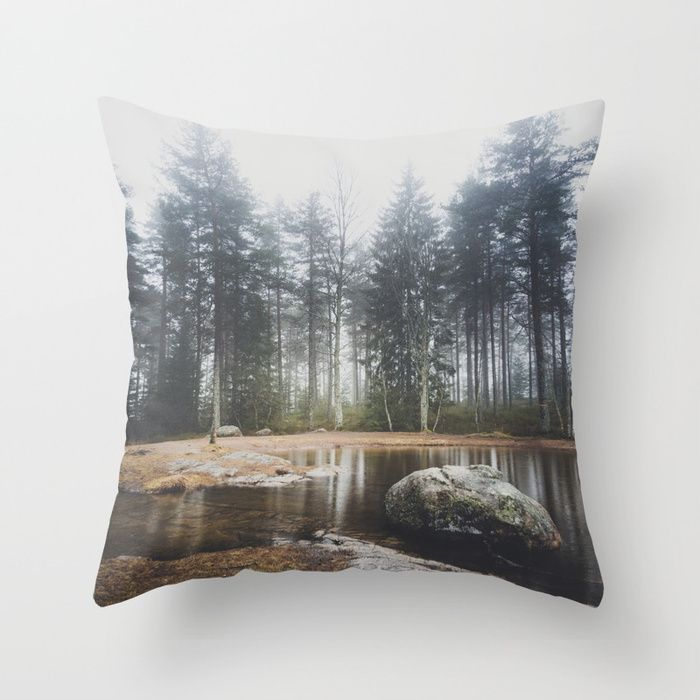 Moody mornings Throw Pillow by HappyMelvin. #nature #wanderlust #landscape #forest #throwpillow #homedecor