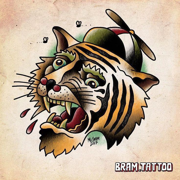 Wacky tiger. Get tattooed at @tattooinkexplosion or @prisoninkdk email jesper@bram.tattoo #bramtattoo #trippytrad #tigertattoo #copenhagentattoo #belairtattoo #tattoo #weird #bramtattooflash #missekat #propelhat #wackytiger #danishtattooartist #ipadprotattooteam #flashaday #flashtagram