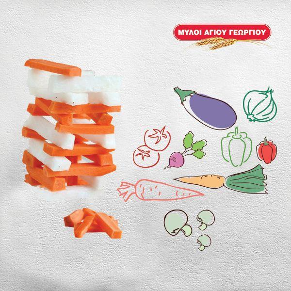 Δε θέλει να φάει καρότο αλλά είναι σαΐνι στα παιχνίδια; Κόβοντας λαχανικά σε παραλληλόγραμμες σκελίδες και συνδυάζοντας τα με ένα παιχνίδι Jenga, θα αποσπάσεις τη προσοχή του και η λιχουδιά θα φαγωθεί ευχάριστα στην πορεία! #myloiagiougeorgiou #cook&play #carrot