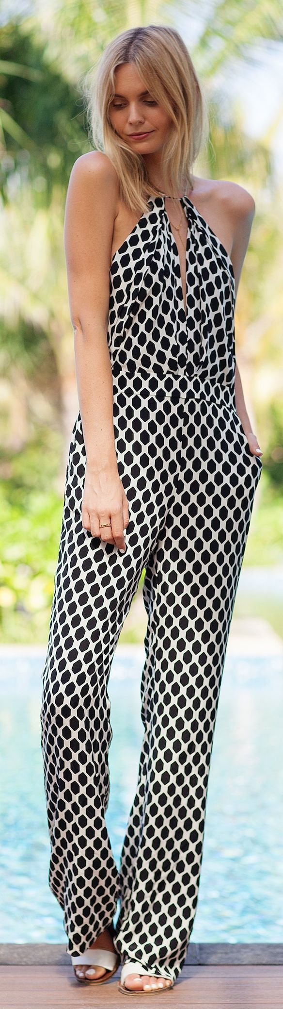 General Pants Co. Black And White Nest Of Bee Print Halter Women's Jumpsuit by Tuula