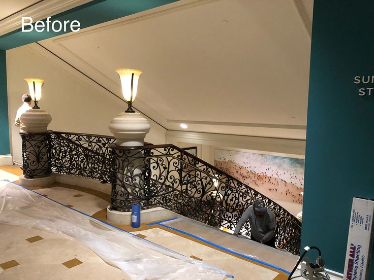 Monarch Beach Resort Project: Custom Ceiling Sky Wallpaper Installation  Custom Chandelier Installation Custom Wall Wood