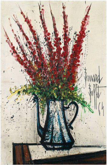 """Delphiniums rouges by Bernard Buffet; 1964; oil on canvas; 32 x 21.2"""" 