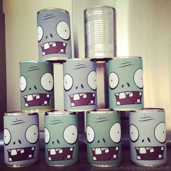 PvZ party zombie bowling printable tin can wraps