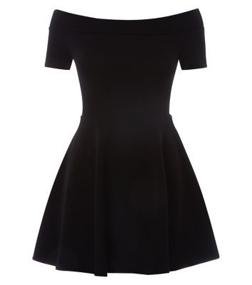Teens. This black skater dress is the perfect piece for a special occasion - add white heels to lift.- Fit and flare style- Off the shoulder style- Cinched waist- Mini length