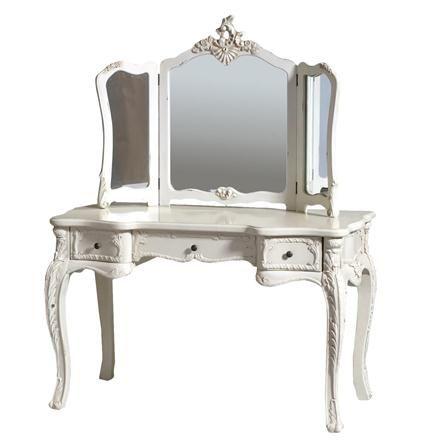 ACHICA   Large Cream Dressing Table & Mirror Set - £299