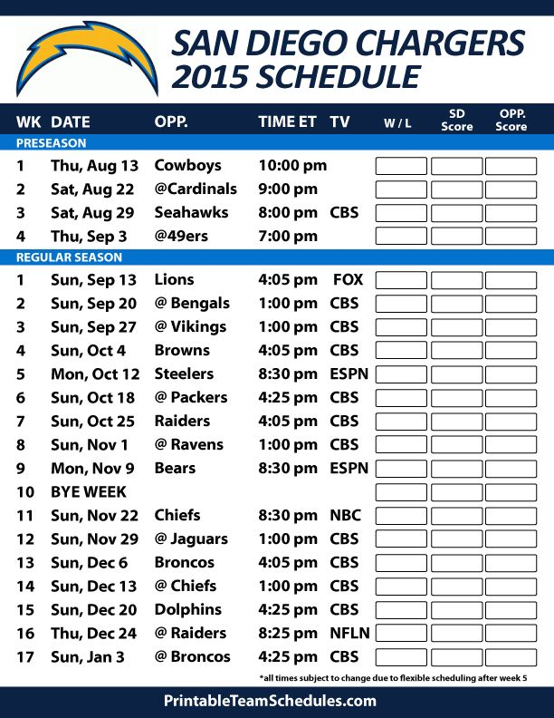 San Diego Chargers 2015 Schedule. Printable version here: http://printableteamschedules.com/NFL/sandiegochargersschedule.php