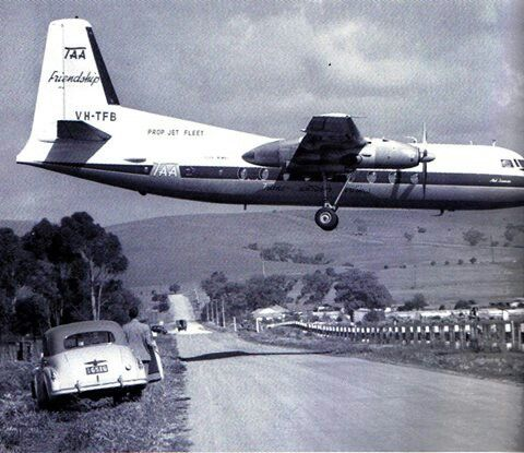 TAA Fokker Friendship... South Australia Parafield Airport early 1950's looking down Kings Road towards Main North Road...Para Hills didn't even exist..