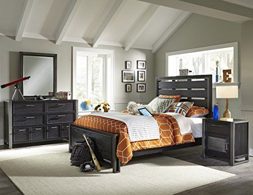 Contains one twin bed, one nightstand, one dresser, and one mirror Metal framing accents the collection High and low bed rail locking positions for bed