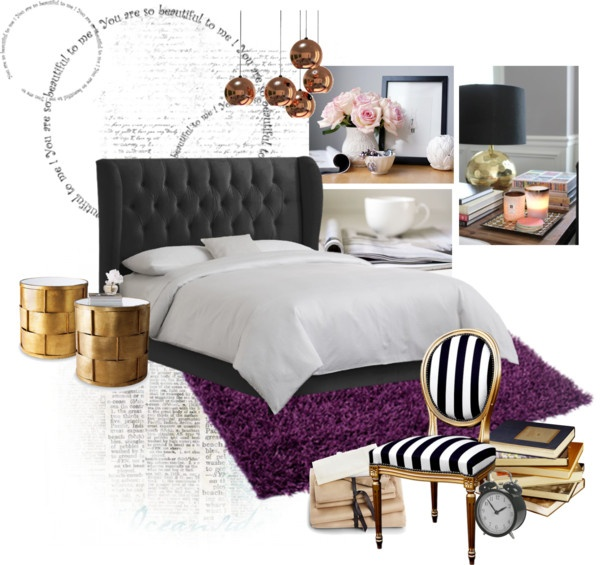 the purple rug and gold accents make this room idea look astro awesome