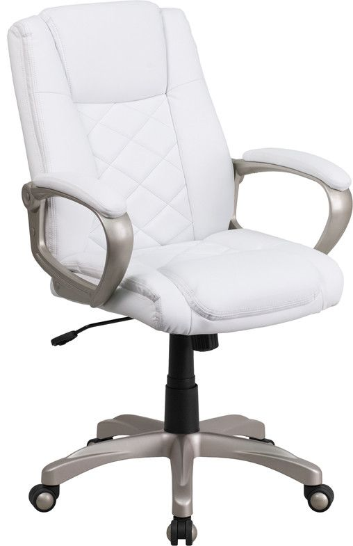 Set yourself apart from the masses with the typical black upholstered chair and make a statement with this appealing executive office chair, upholstered in soft white leather. High back office chairs